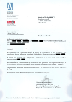 Réponse de l'ordre des avocats de Paris