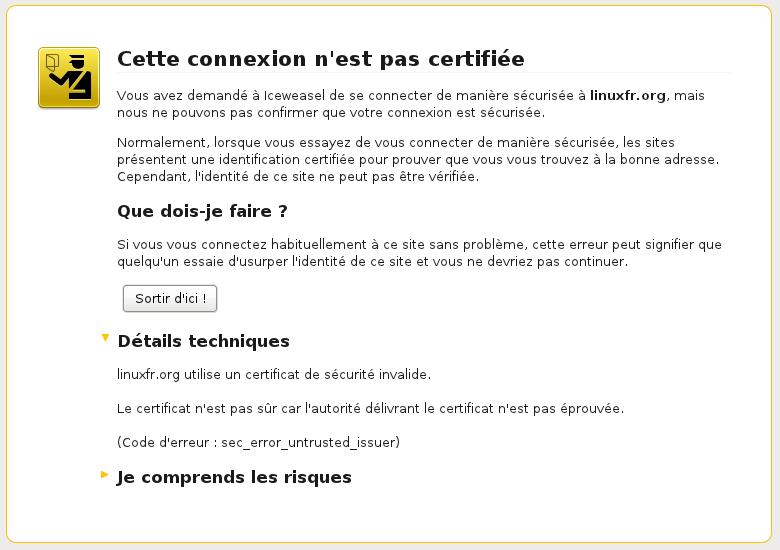Capture avec Firefox 3.5 sans certificat racine